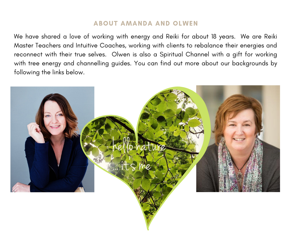 Photograph of Amanda and Olwen with heart shaped image of leaves. Text says We have shared a love of working with energy and Reiki for about 18 years. We are Reiki Master Teachers and Intuitive Coaches, working with clients to rebalance their energies and reconnect with their true selves. Olwen is also a Spiritual Channel with a gift for working with tree energy and channelling guides. You can find more about our backgrounds by following the links below.